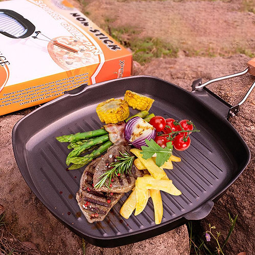 Non-stick Cast Iron Steak Pan with Wooden Handle