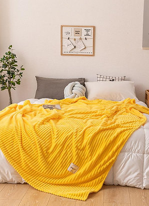 Bed Blankets Solid Yellow Green Soft Warm Flannel Blanket for Bed