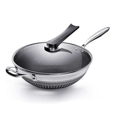 non-stick stainless steel pan, honeycomb, wok pan with glass lid