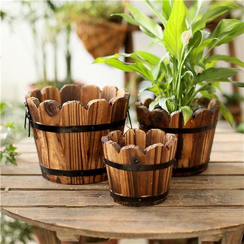 Vintage Wooden Vase Bucket Artificial Flower Storage Organizer