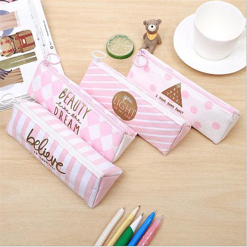 Pencil case for girls' school, canvas triangular pencil case