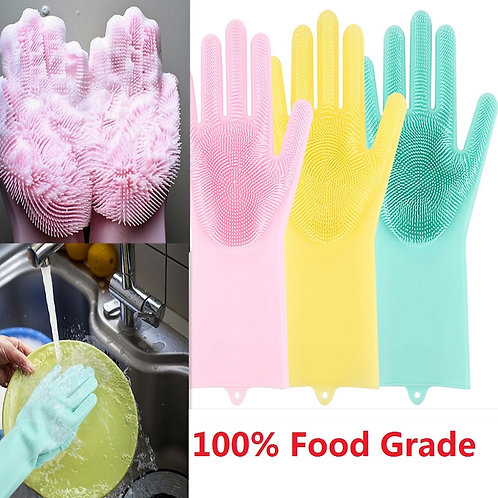 1 PC. Silicone Dishwashing Gloves with Cleaning Brush