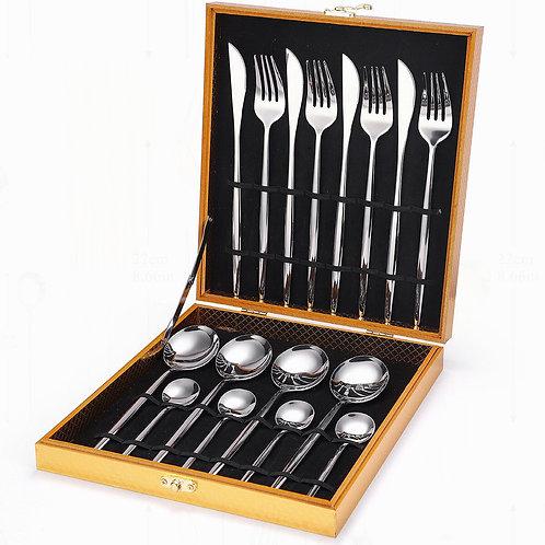 Stainless steel tableware, cutlery, fork, spoon, knife, set