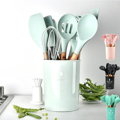 Silicone kitchen utensils, tool kit, non-stick, kitchen accessories, gadgets