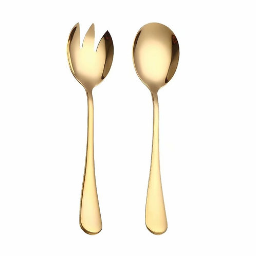 Gold salad spoon, fork, 2 pieces