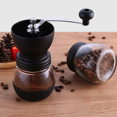 Manual Ceramic Coffee Bean Grinder with Reinforced Glass Jar