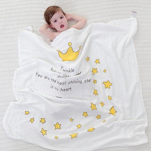 Muslin baby blanket, spring summer blanket for girls with angel wings