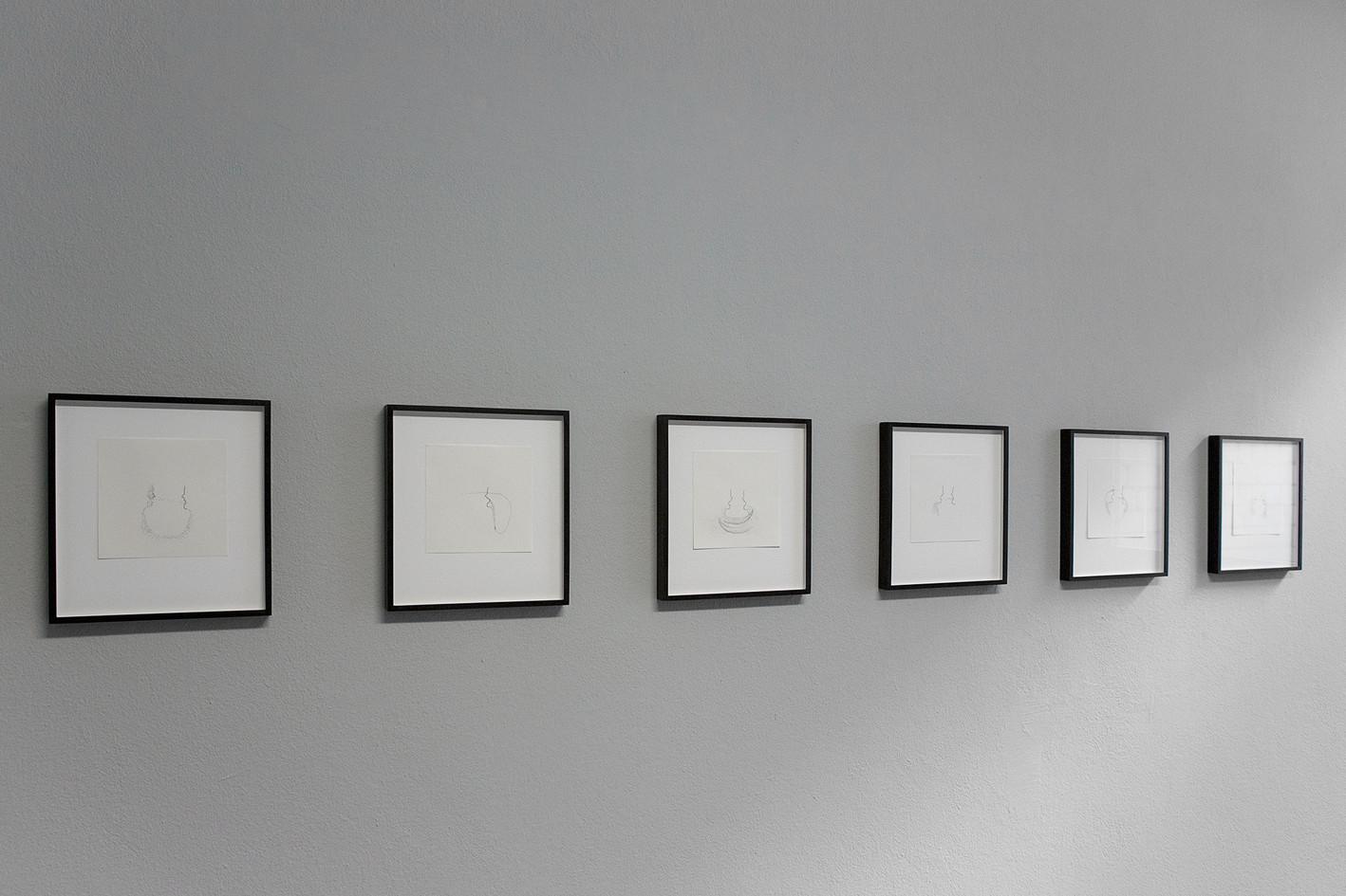Kirstin Burckhardt, gorge, 1 – 6, 2020; Ink / 70g/m2 Paper,  15 x 15 cm each © Mirjana Vrbaski