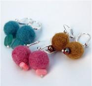 Felt Balls & Bead Earings