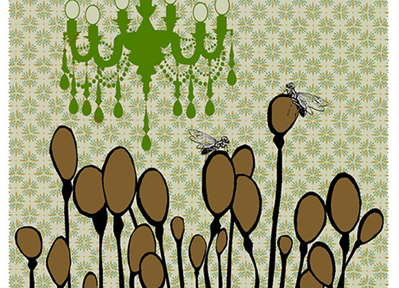 flies and pods 3 x 5 blank greeting card