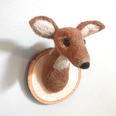 needle felted deer trophy