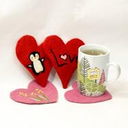 needle felted heart coasters