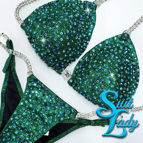 Mixed Green Crystals On Deep Green