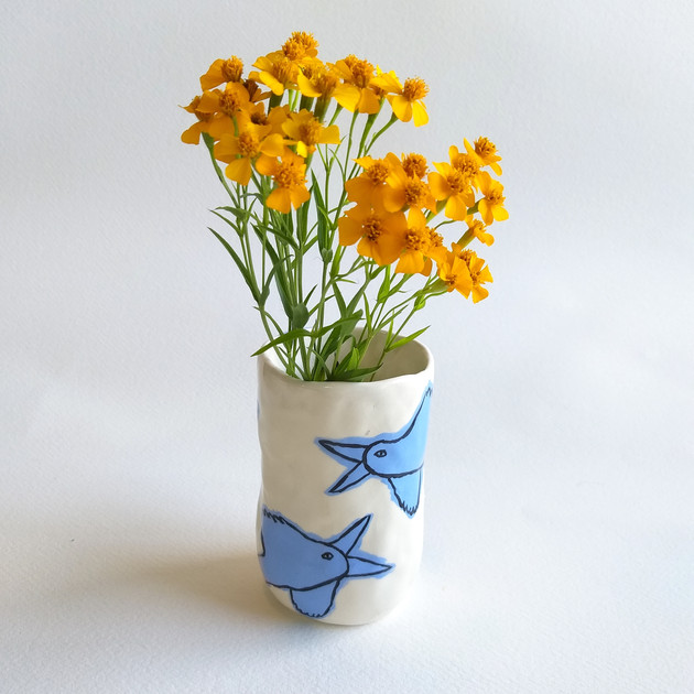 Blue Byrds of Happiness vase