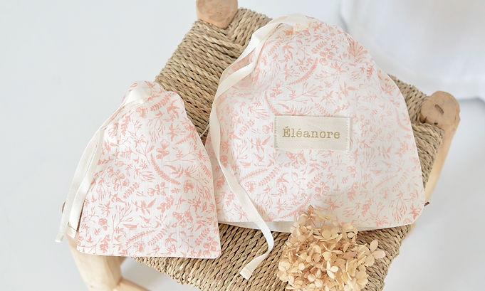 2 pochettes lin fleuri rose