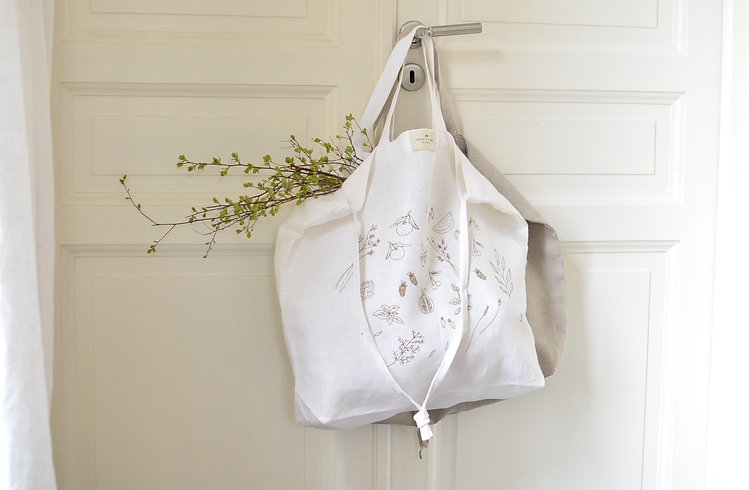 tote bag en lin blanc et en lin naturel