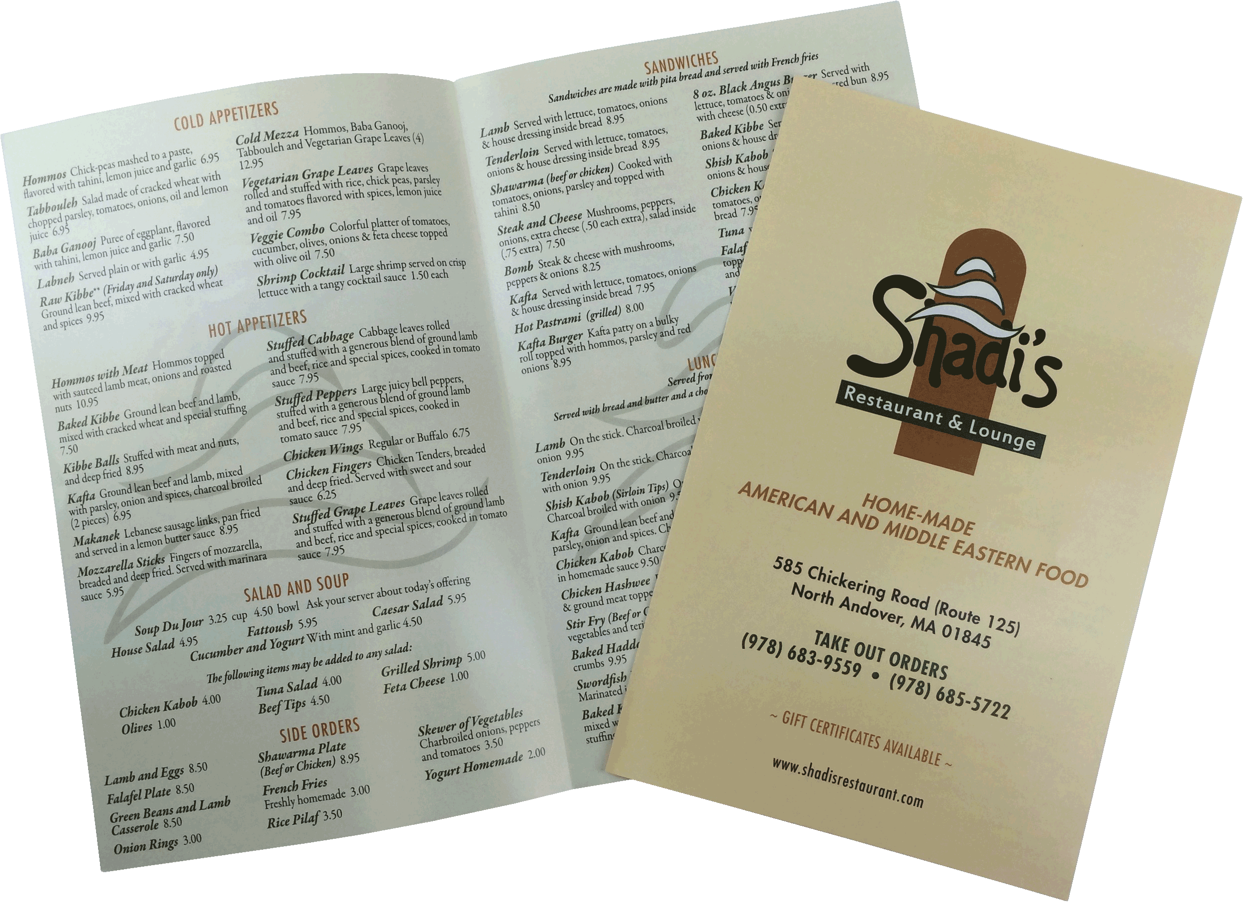 Printed TakeOut Menu by Dobbs Global