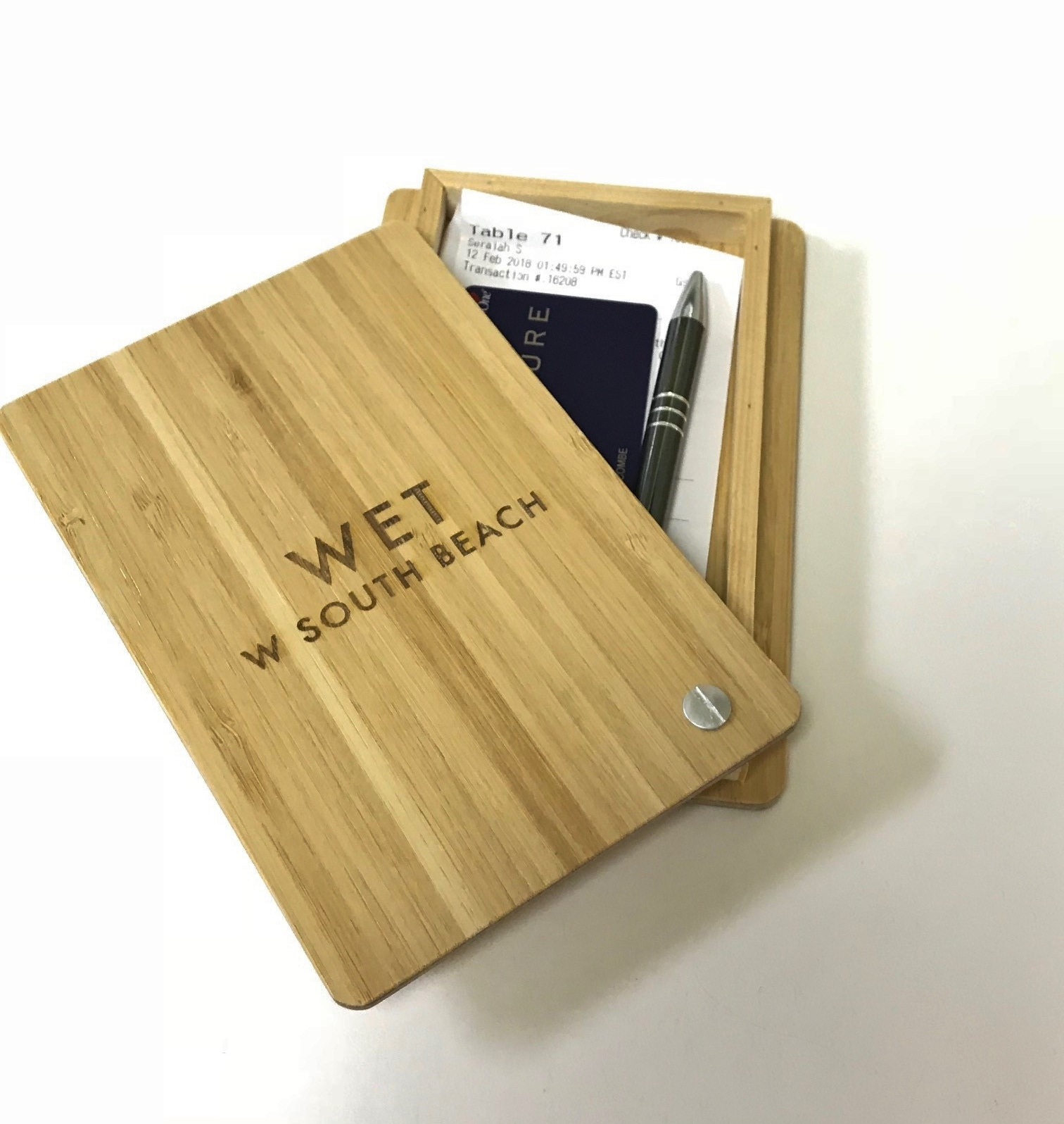 Bamboo Wood Box Check Presenter