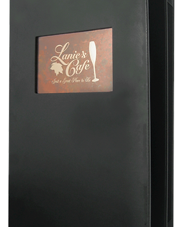 Insertable Deluxe Plaza menu cover with printed logo in insertable window.