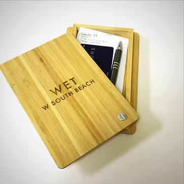 In stock with custom options bamboo box check presenter