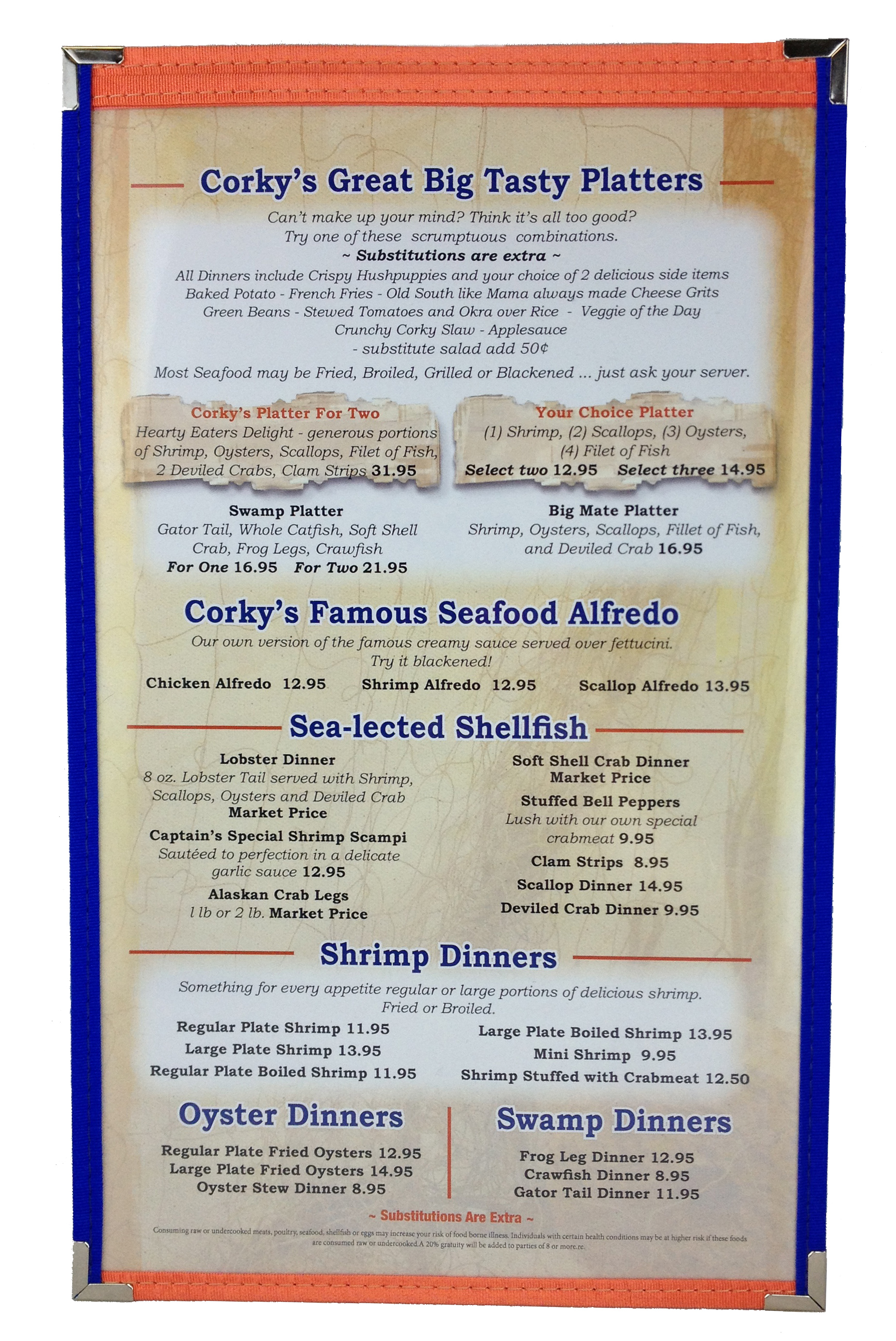 Cafe Menu Cover | Orange & Blue Trim