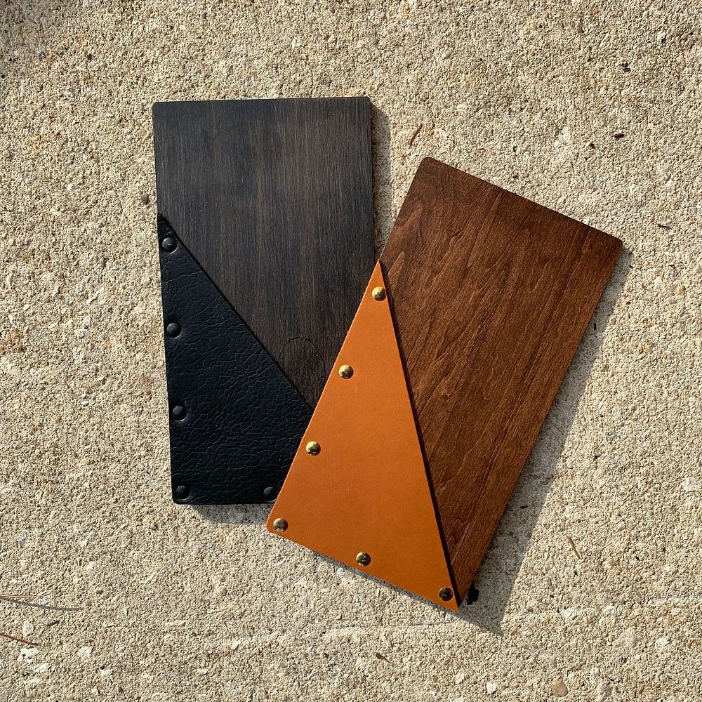 Wood Check Presenters with Genuine Leather