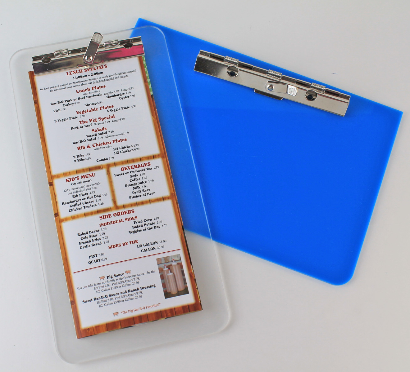 Acrylic Clipboard Pool Menus