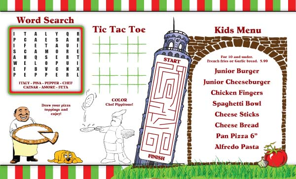 Kids Placemat Templates Menu Designs Menu Covers And More