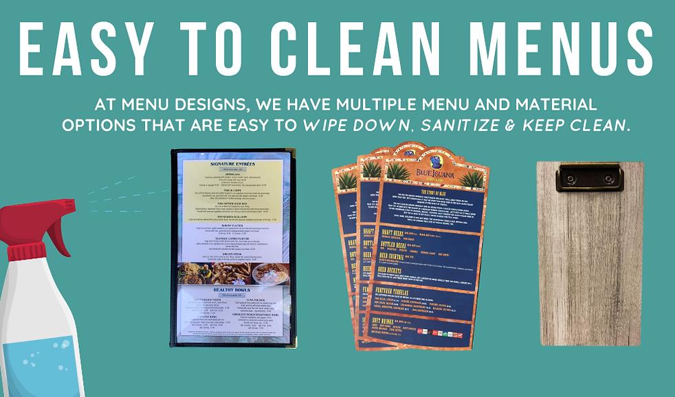 Easy to Clean Menus Options