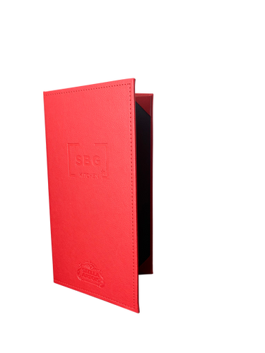 Cowhide Red Simulated Leather Menu Covers