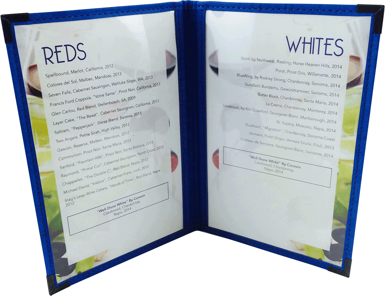 Cafe Menu Cover | Blue Cork Trim