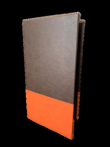 Vivella Brown and Orange Simulated Leather Menu by Menu Designs