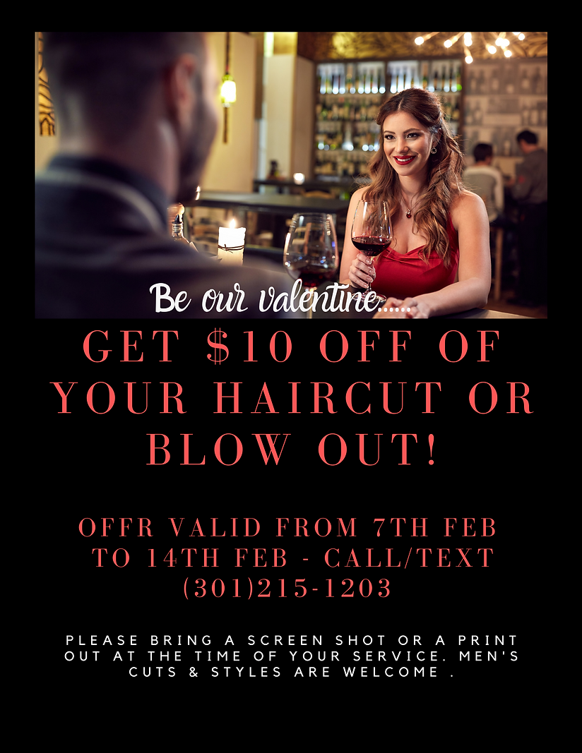 Get $10 off of your haircut 7th Feb to 1