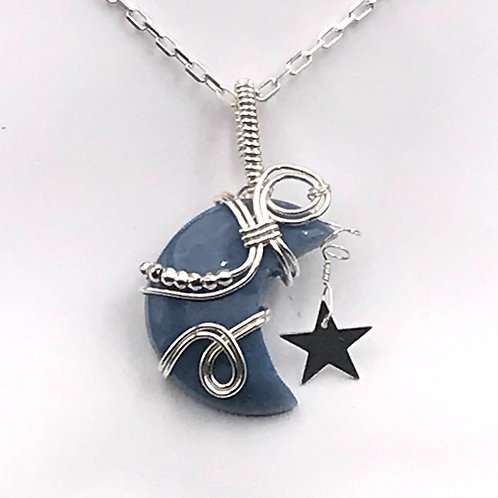 Crescent shaped Blue Opal pendant