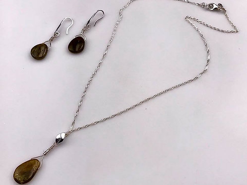 Green Tourmaline necklace and earring set