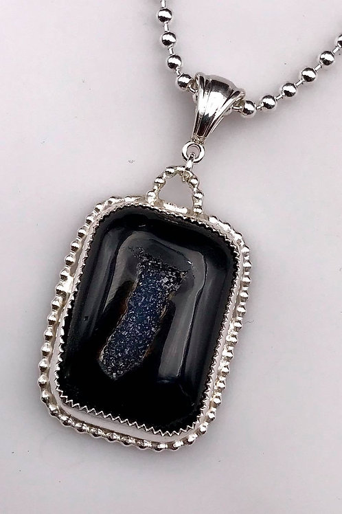 Fine silver Onyx Druzy necklace