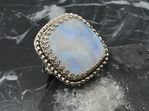 Sterling and Fine silver Moonstone ring