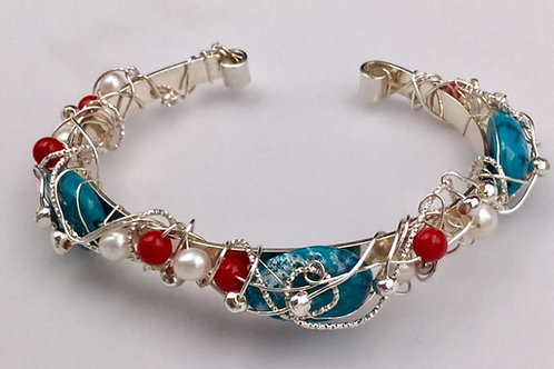 Natural Turquoise, Coral, and Freshwater Pearl cuff bracelet