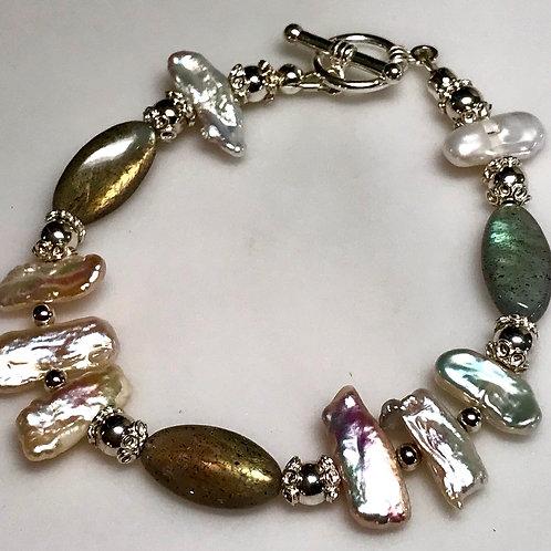 Labradorite and Baroque Freshwater Pearl bracelet