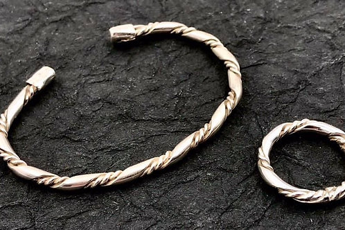 Cuff bracelet and matching ring