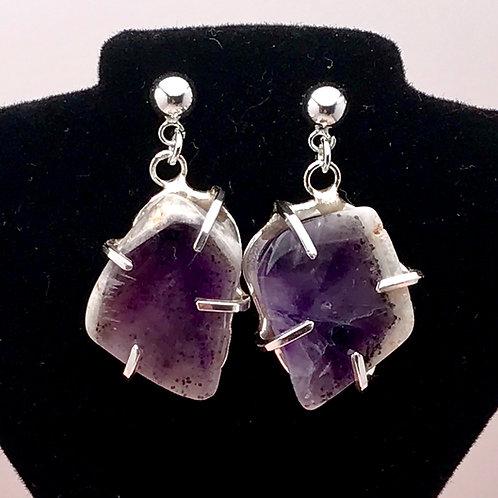 Fine silver Amethyst slice earrings