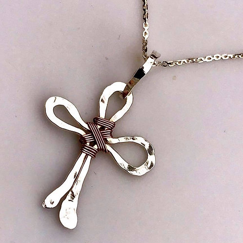 Fine silver hammered cross