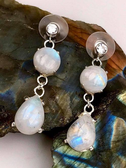 Sterling Rainbow Moonstone earrings