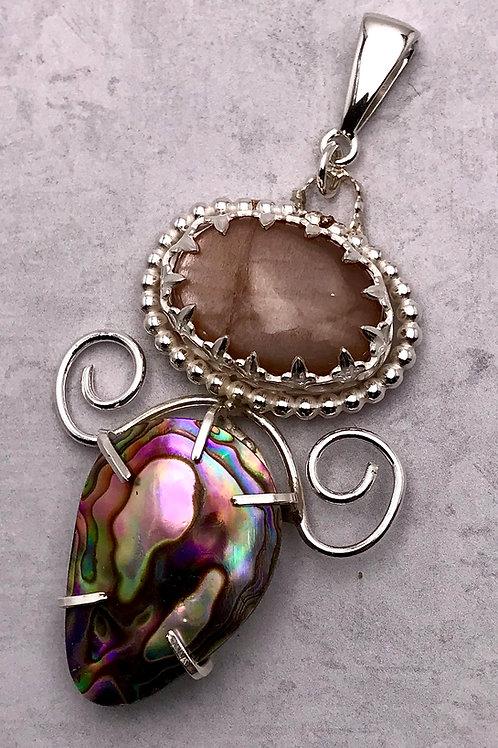 Abalone and Peach Moonstone pendant