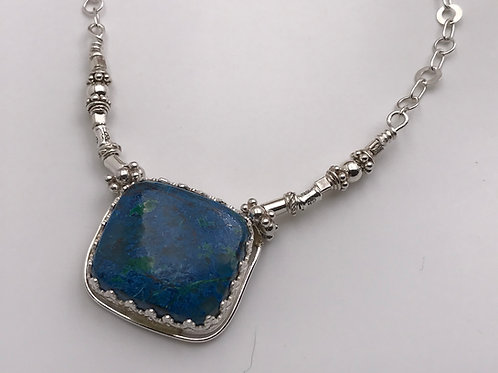 Sterling and Fine silver Azurite necklace