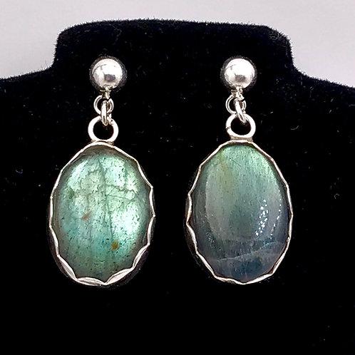 Fine silver Labradorite earrings