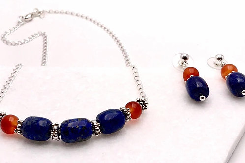 Natural Lapis and Carnelian necklace and earring set