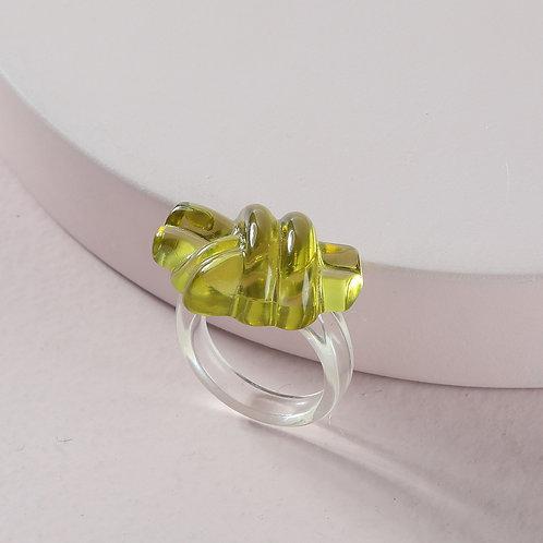Green Knot Acrylic Ring