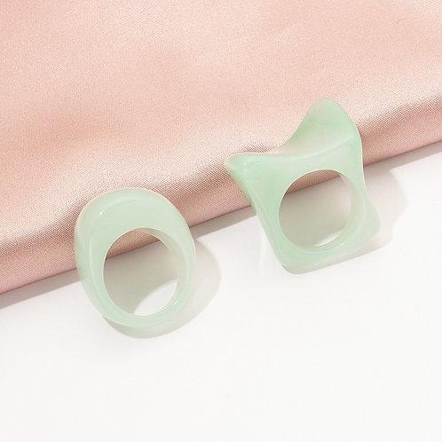 Aqua Acrylic Ring Set