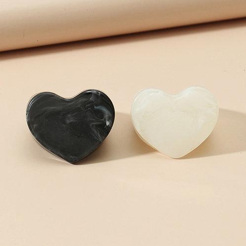 Big Heart Acrylic Ring Set